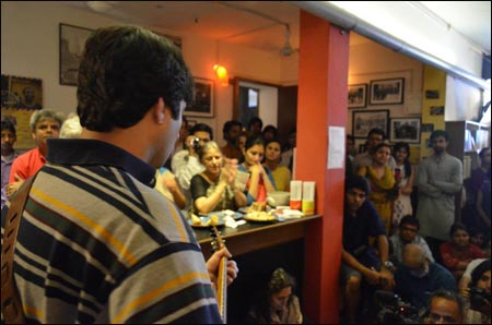 The Pakistani band Laal perform at the opening of the May Day Bookstore and Cafe, 1 May 2012