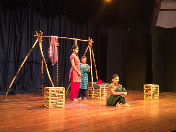 A still from play AAYDAAN, directed by Sushama Deshpande.