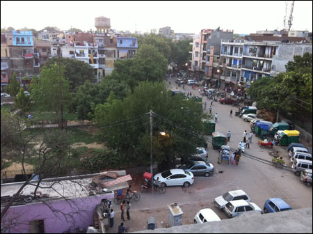 View of the Shadipur Neighbourhood from Janam's terrace