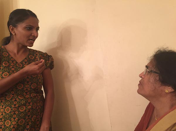 Tai, in conversation with one of her actors for her play AAYDAAN.